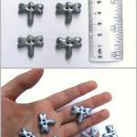 6 dragonflies buttons in silver pol..