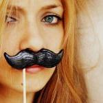 Single Black Mustache on a Stick - ..