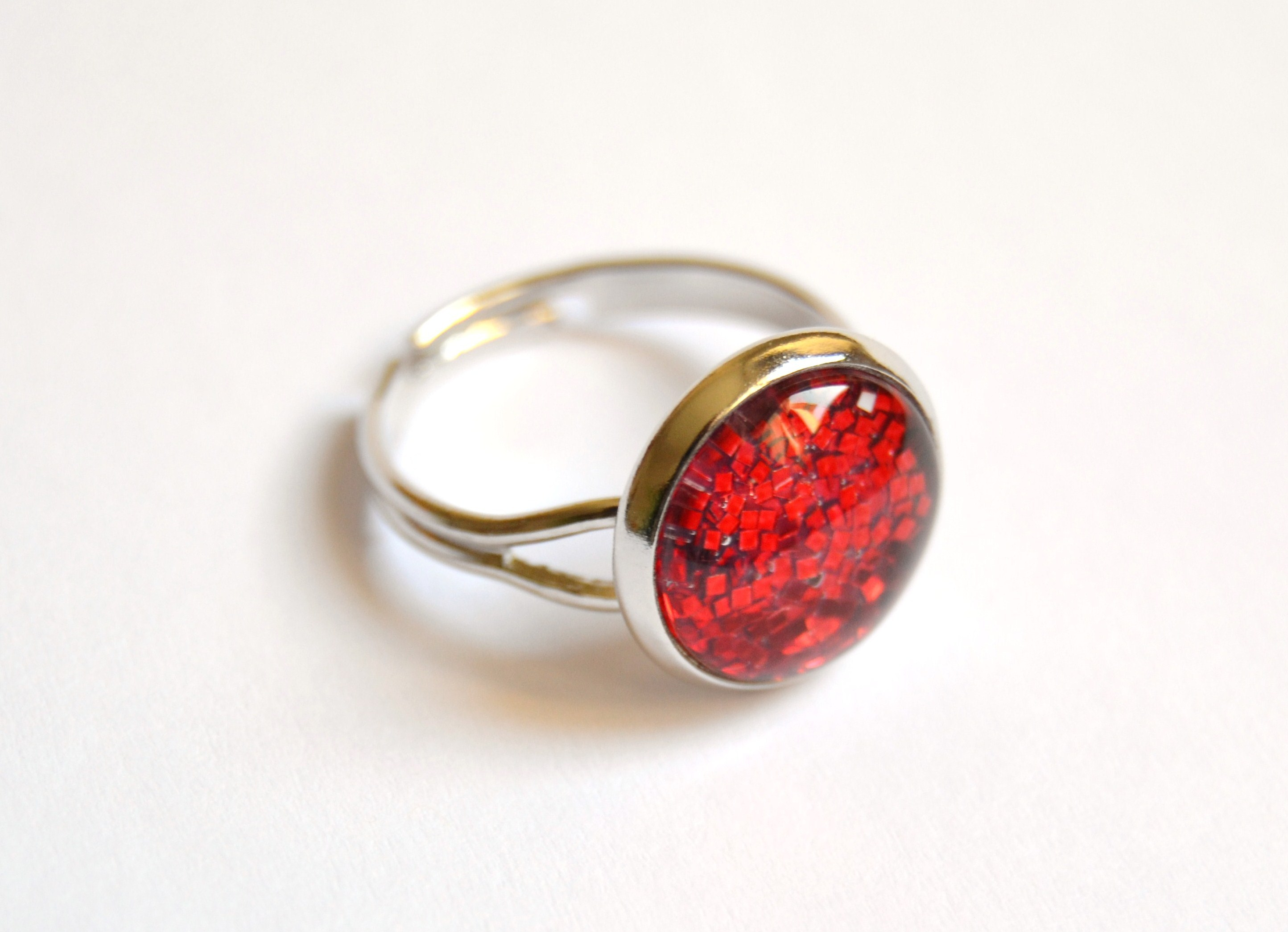 p glass ring red oval silver for rings trendy plated women wholesale